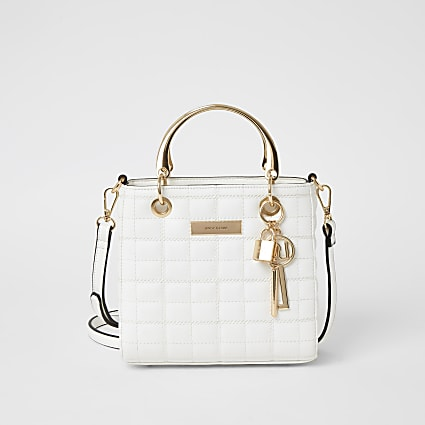 White quilted cross body tote bag