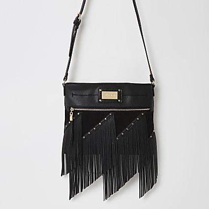 Black fringe studded cross body messenger bag