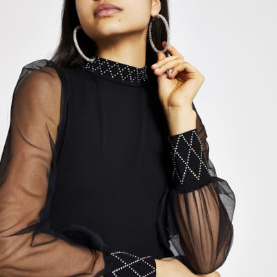 Black embellished mesh sleeve high neck top