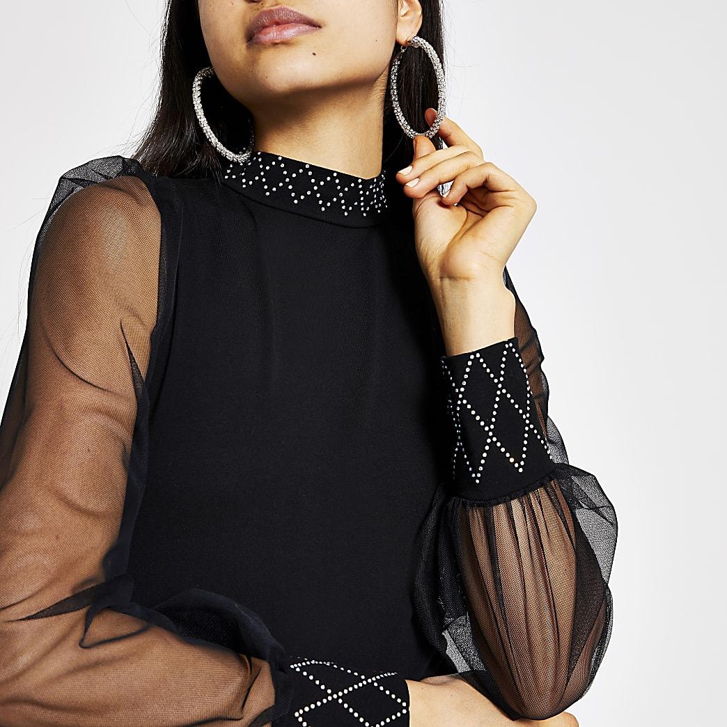 Black embellished mesh sleeve high neck top