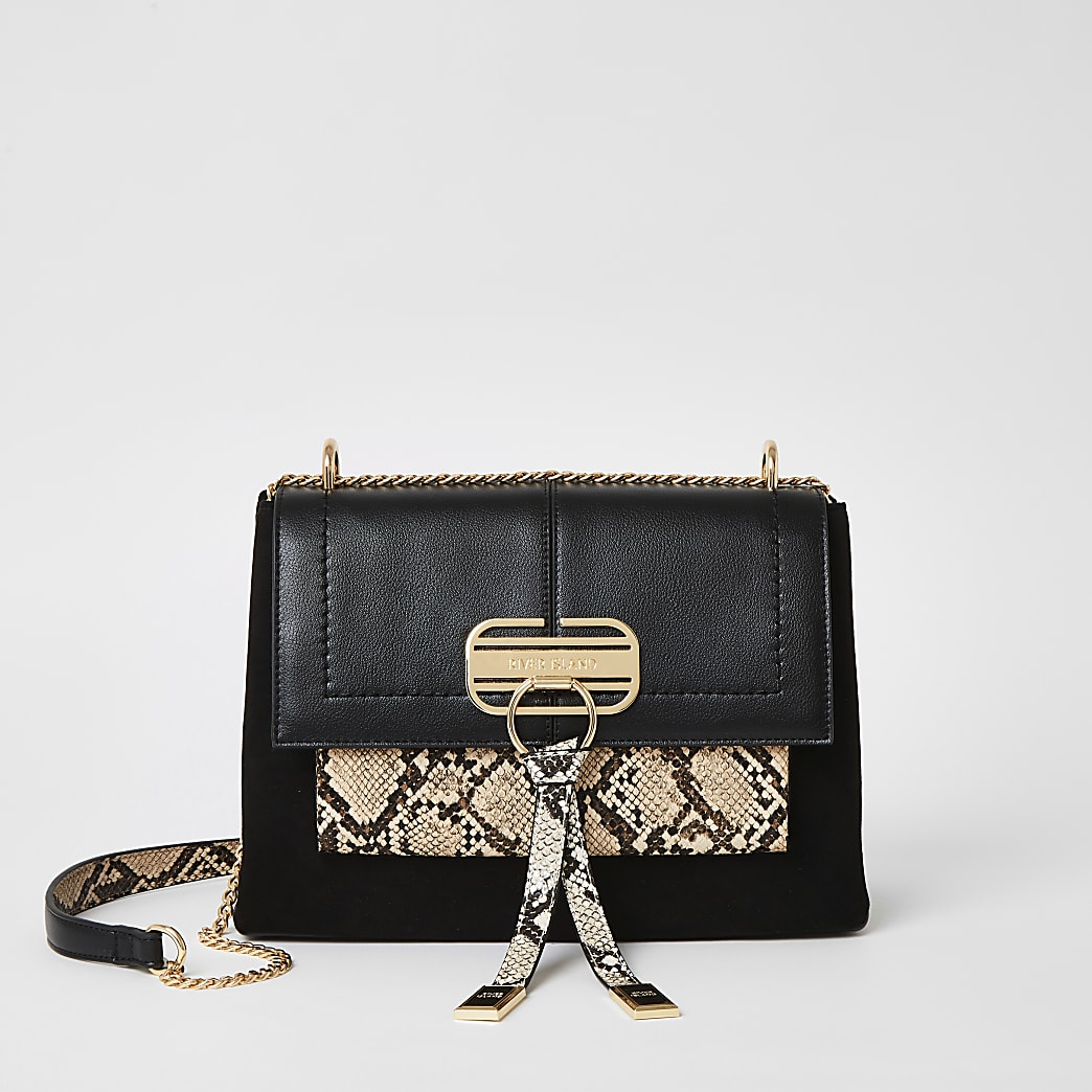 Black snake printed lock front cross body bag