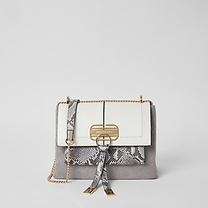 Grey snake printed lock front cross body bag
