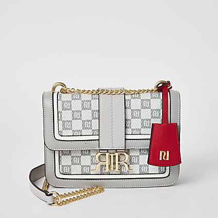 Grey RI checkerboard cross body satchel bag