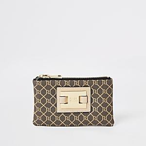 Brown RI monogram zip top mini pouch