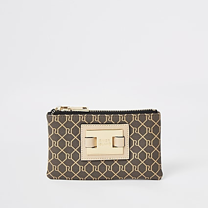 Brown RI monogram zip top mini pouch