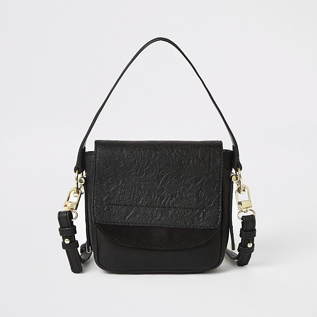 Black leather embossed mini cross body bag