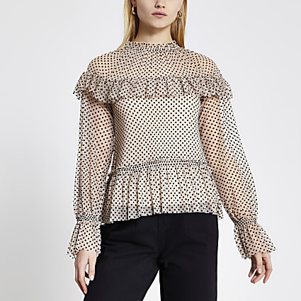 Beige polka dot frill long sleeve blouse