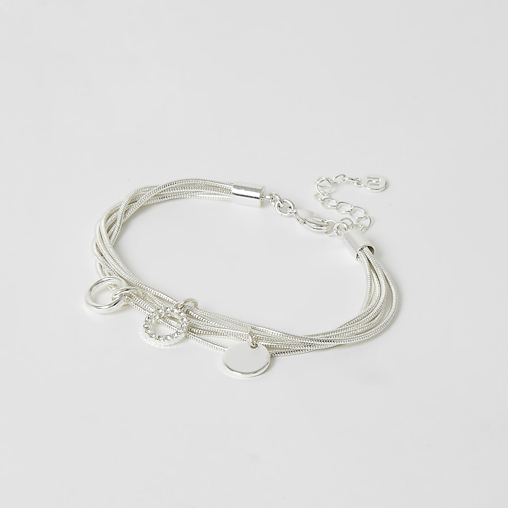 Silver colour layered pendant bracelet