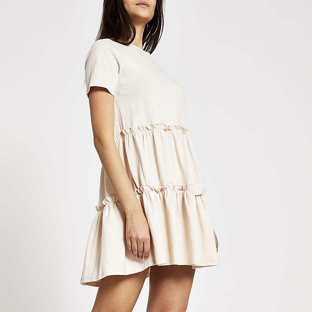 Beige tiered frill T-shirt smock mini dress