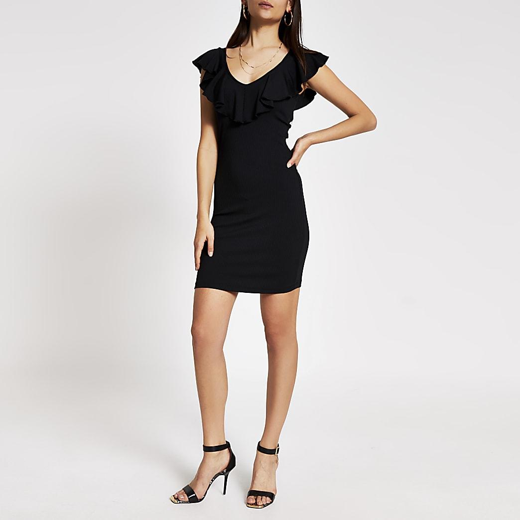 Mini-robe moulante noire avec col en Và volants