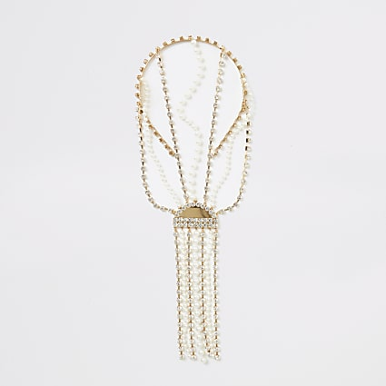 Gold embellished tassel back headband