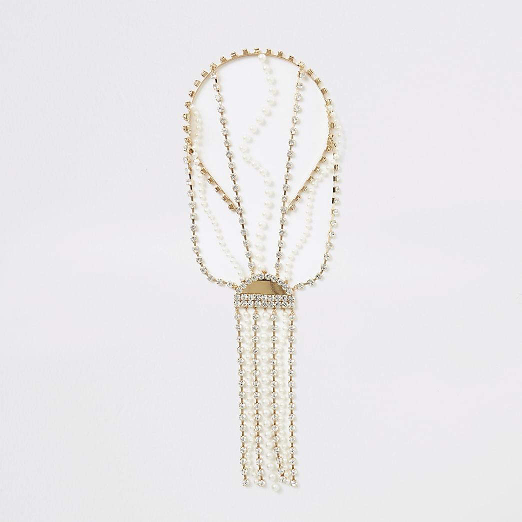 Gold embellished tassel back headband