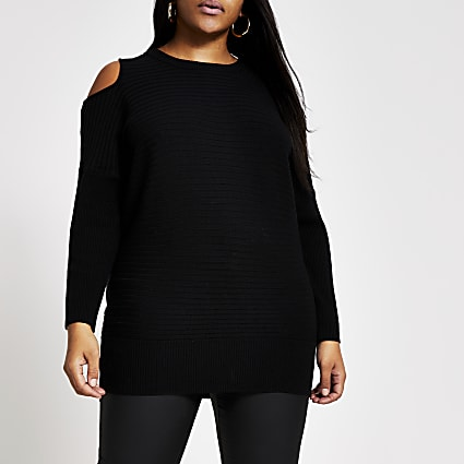 Plus black cold shoulder rib knitted jumper