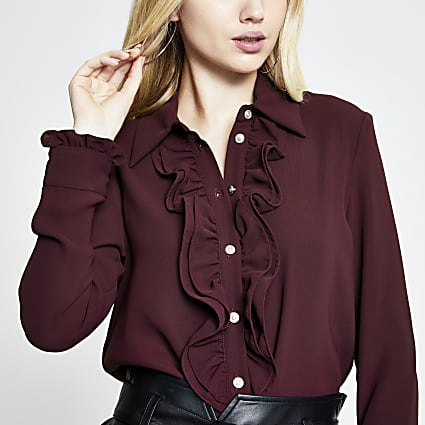 Rust frill front long sleeve shirt