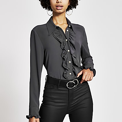 Dark grey long sleeve frill shirt
