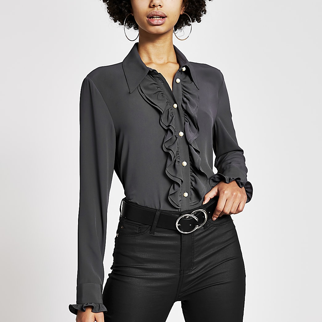 Donkergrijs overhemd met franje en lange mouwen