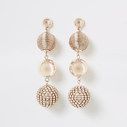 Rose gold diamante ball drop earrings