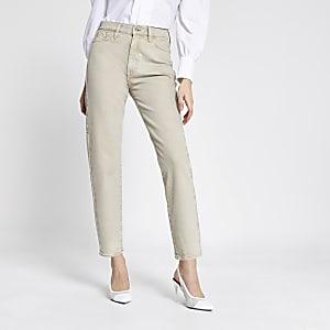 Blair – Hoch geschnittene Jeans in Ecru mit geradem Hosenbein