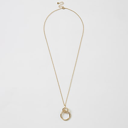 Gold interlinked diamante pendant necklace