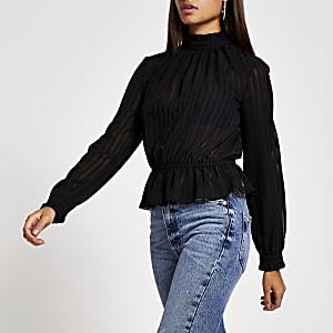 Zwarte gestreepte burnout blouse met lange mouwen