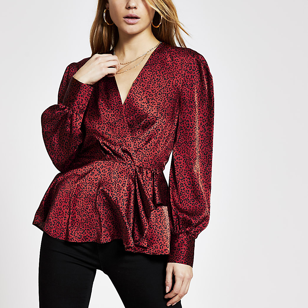 Brown printed frill peplum satin blouse