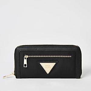 Portefeuille RI en nylon noir zippé