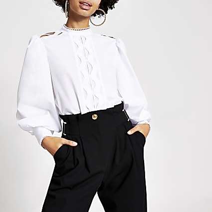 White curved lace long sleeve poplin shirt