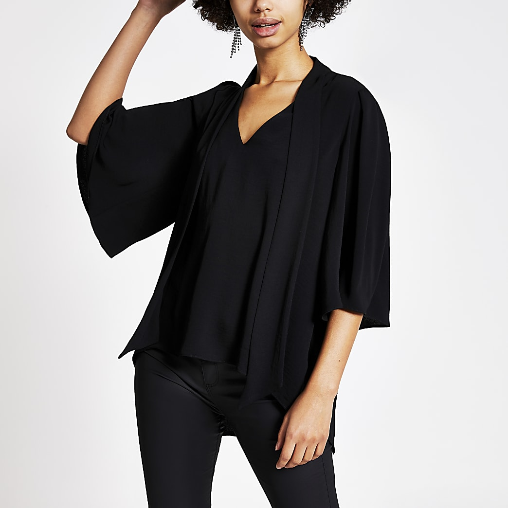 Black tie V neck blouse