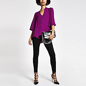 Purple tie V neck blouse