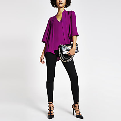 Purple tie V neck blouse
