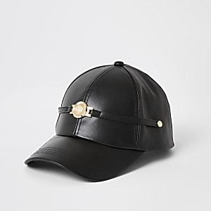Casquette RI en cuir synthétique noir