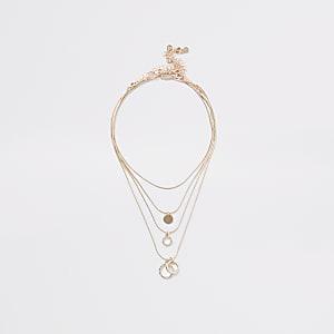 Lot de3 colliers or rose avec pendentifs cercles