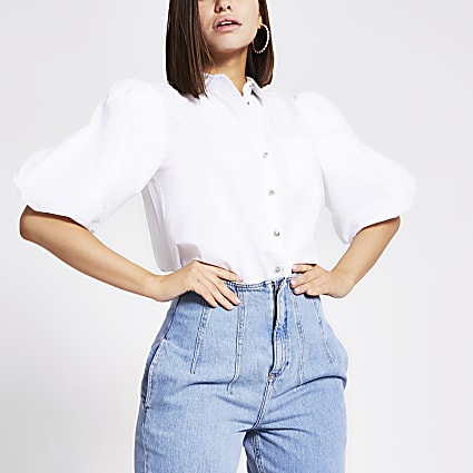 White puff sleeve poplin shirt