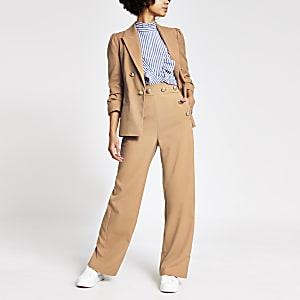 Hose mit weitem Beinschnitt und hohem Bund mit Knopf in Beige
