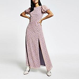 Paarse midi-jurk met bloemenprint en blote rug