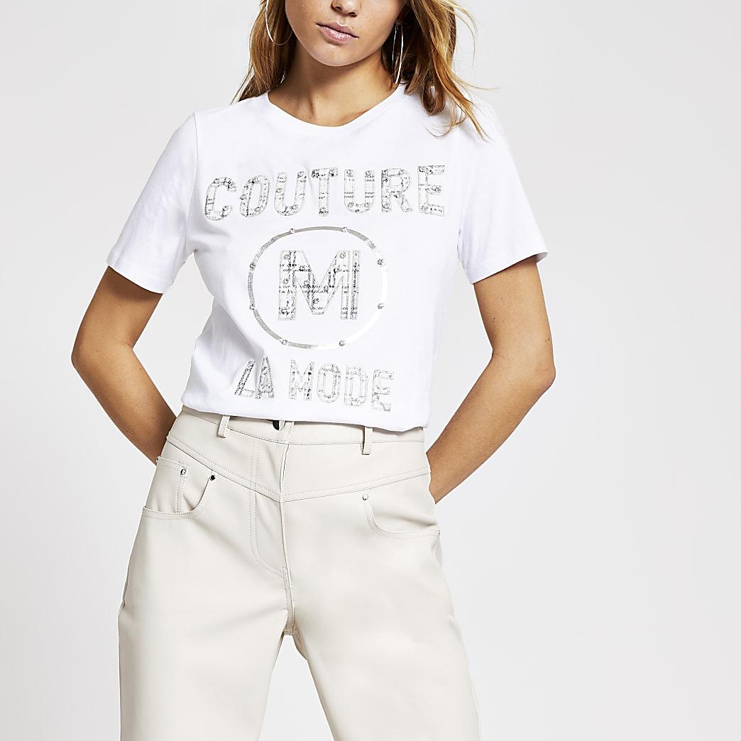 T-shirt blanc « Couture » à strass et dentelle