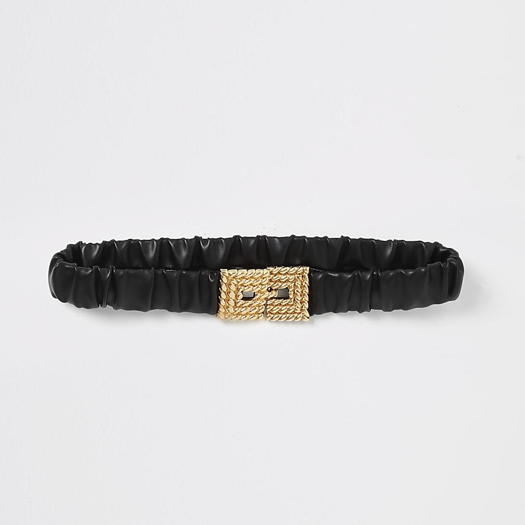 Zwarte elastische riem met gesp