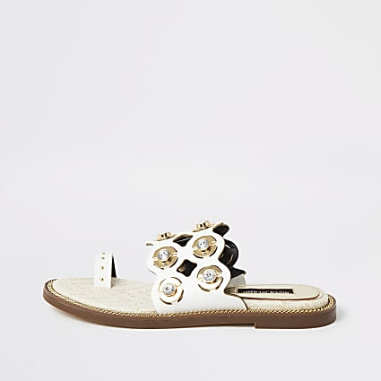 White cutout embellished wide fit sandals