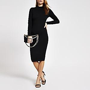Schwarzes, langärmeliges Bodycon-Kleid mit Rüschen