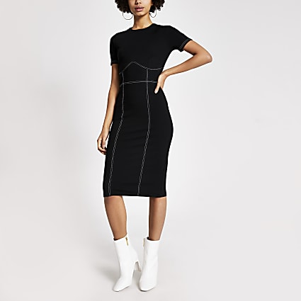 Black contrast stitch bodycon midi dress