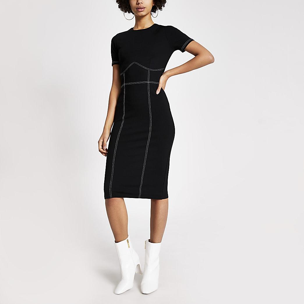 Black contrast stitch bodycon midi dress