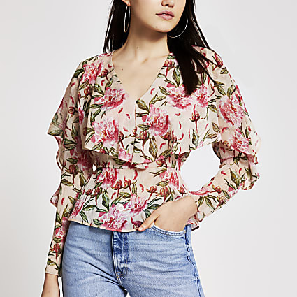Pink floral long frill sleeve blouse