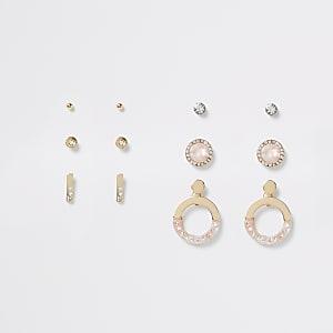 Set van 6 goudkleurige oorbellen met siersteentjes