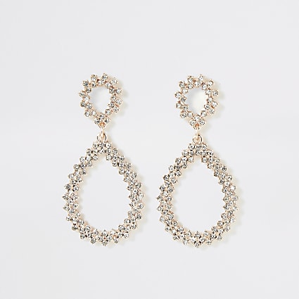 Rose gold diamante teardrop earrings