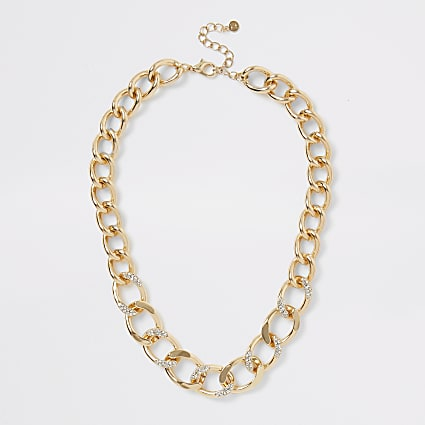 Gold colour diamante chunky chain necklace