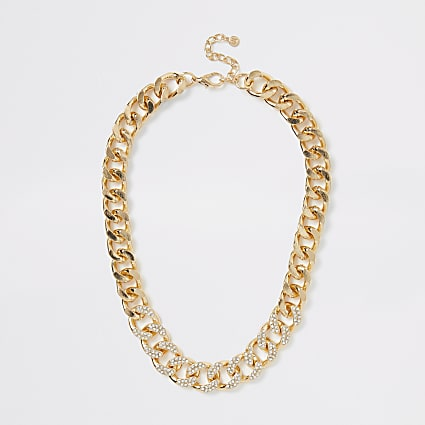 Gold diamante chunky chain necklace