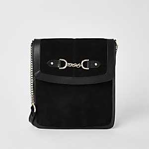 Black suede chain snaffle messenger bag