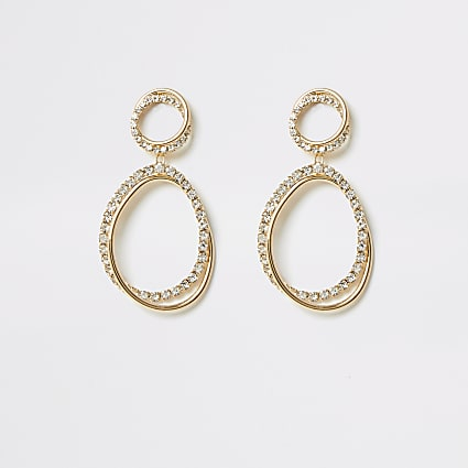 Gold interlinked diamante dangle earrings