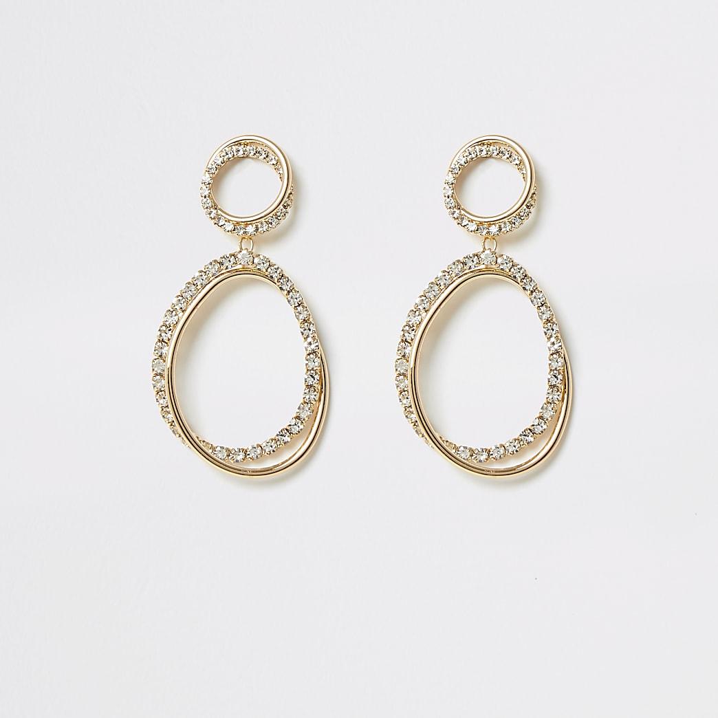 Gold interlinked diamante dangle earrings