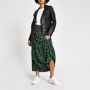Jupe longue verte fleurieà smocks